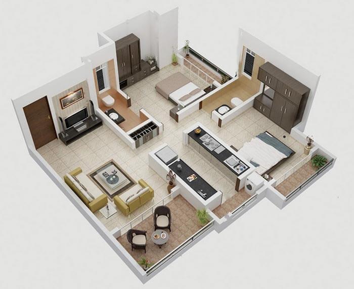 2 oda 1 salon geniş ev planı