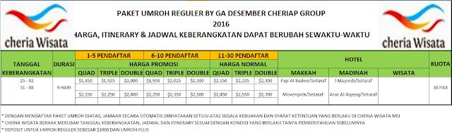 PT. Cheria Wisata biro perjalanan tour travel Haji dan Umroh di Jakarta. Info pendaftaran paket umroh reguler by 2016