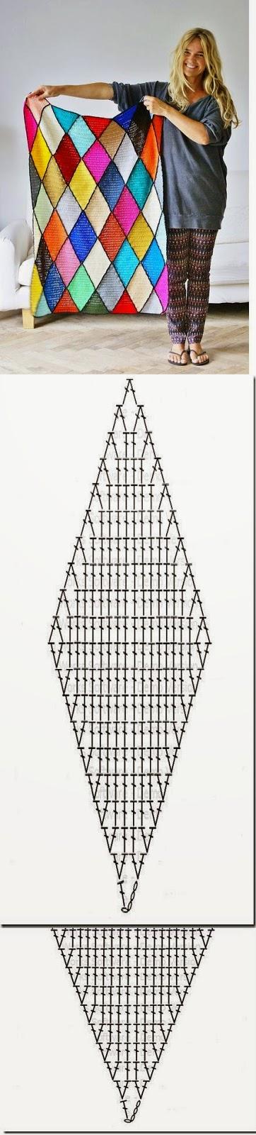 Patrones de Hermoso diseño con rombos para tejer al crochet