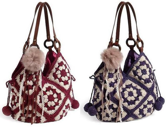 Crochet Handbag, 13 Crochet Squares