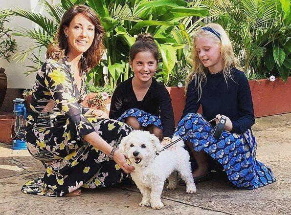 Princess Marie wore a new floral print dress by Diane von Furstenberg. Princess wore Diane von Furstenberg Silas dress