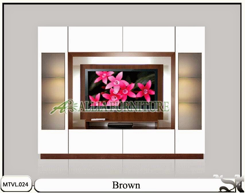 Lemari pajangan model tv lcd minimalis Brown
