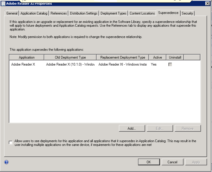 Adobe Reader XI software catalog supersedence/automatic