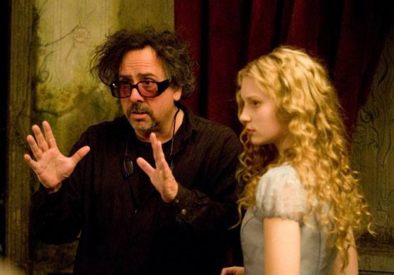 Tim Burton and Alice Alice in Wonderland 2010 animatedfilmreviews.filminspector.com