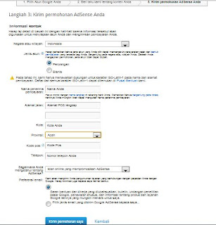 Form Pendaftaran Google Adsense