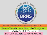 Bhabha Atomic Research Centre Recruitment 2017–Resident Medical Officer Junior