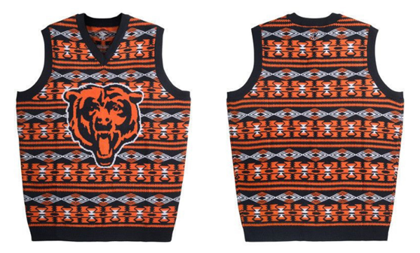 Chicago Bears Official NFL Men's Aztec Sweater Vest By Klew