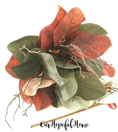 green red magnolia leaf bunch bouquet