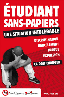 Affiche Étudiants sans-papiers du Réseau Universités Sans Frontières