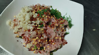 Chicken minced with chopped garlic mint parsley chilly flakes for making minced chicken kebab recipe