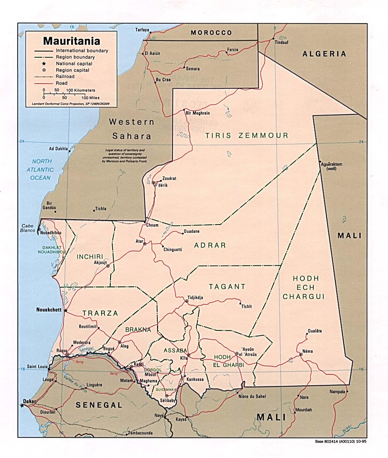 Mauretanien Geografiske Kort Over Mauretanien Global Encyclopedia