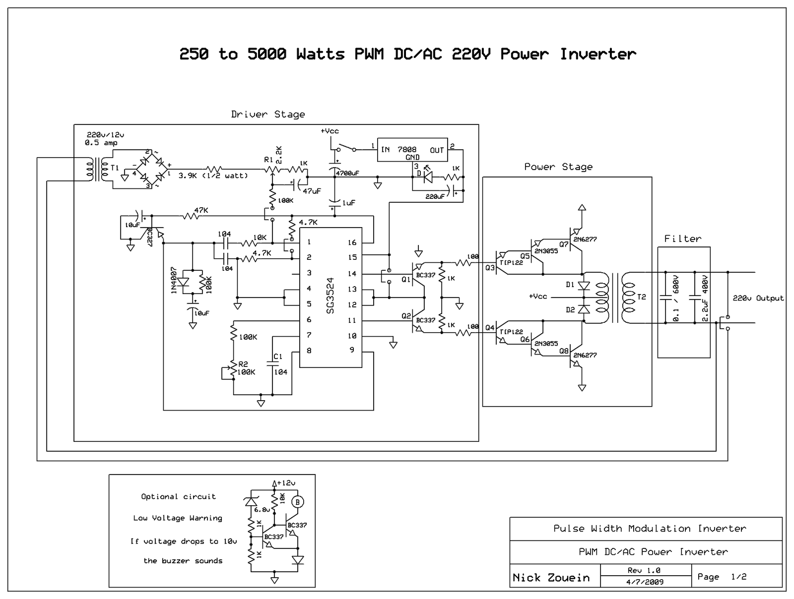 Inverter 5000W with PWM (Pulse Width Modulator)