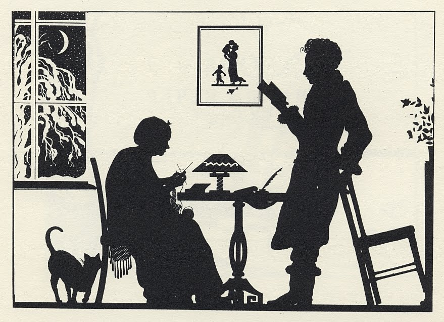 silhouette profile of woman seated and man standing at table