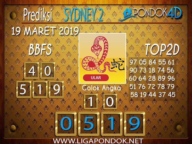 Prediksi Togel SYDNEY 2 PONDOK4D 19 MARET 2019