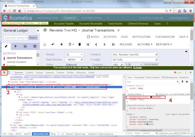 Browser Debugger Tools to get Acumatica Colors