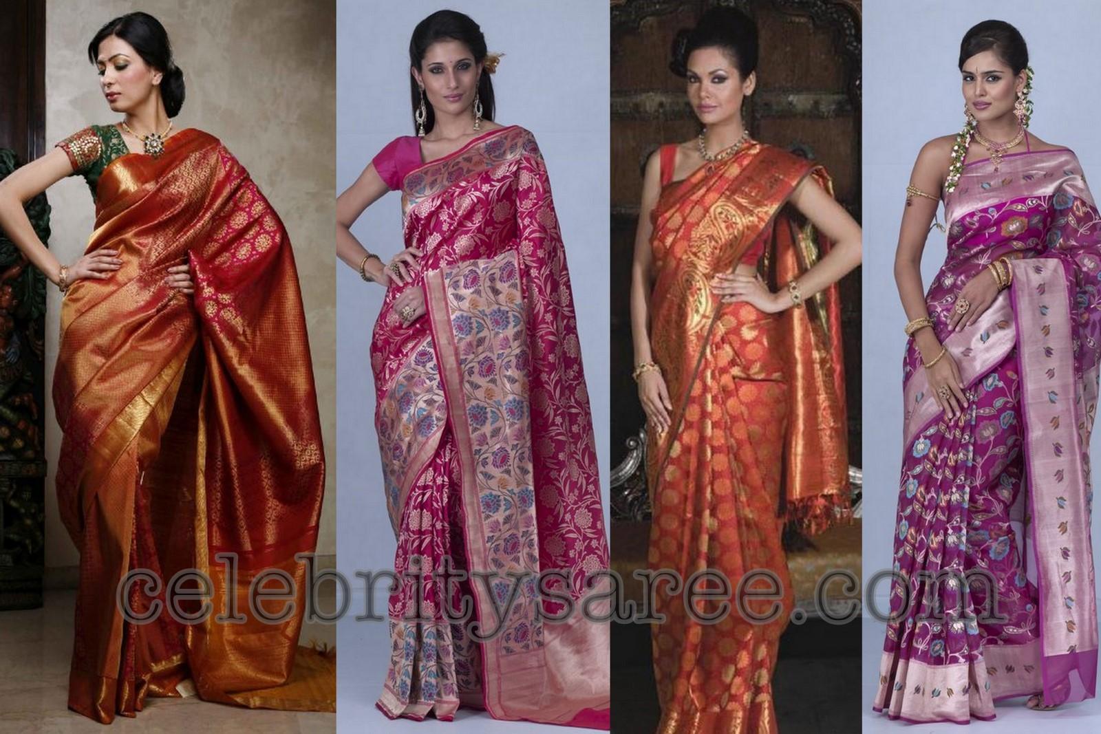 Kanchi and Banaras Silk Neerus Bridal Sarees - Saree Blouse