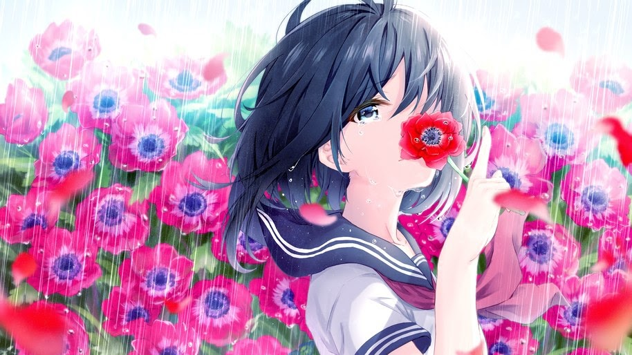 Anime, School Girl, Flowers, Raining, 8K, #212
