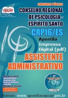Apostila CRP/ES 16 Região CONCURSO Espírito Santo 2015.