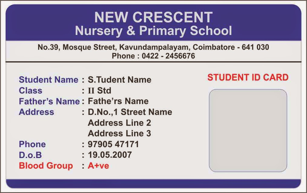 More students id cards design templates samples student for Teacher id card template