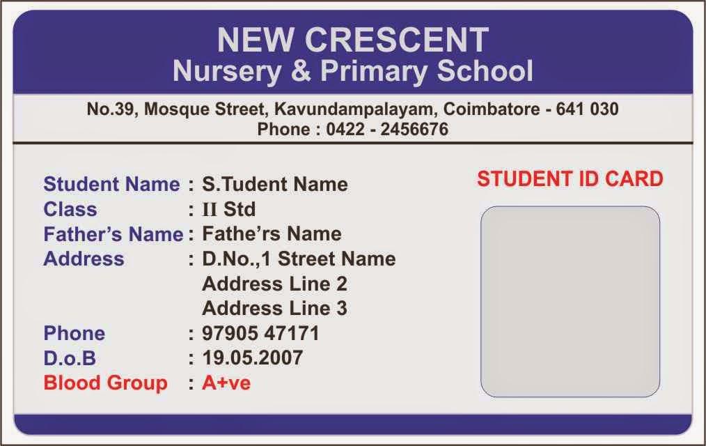 ID Card - Coimbatore - Ph 97905 47171 Elementary School Student ID