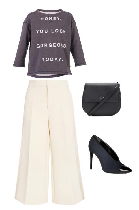 sudadera gris con mensaje, pantalón cropped de satén, salón abotinado con puntera de charon y bandolera negra
