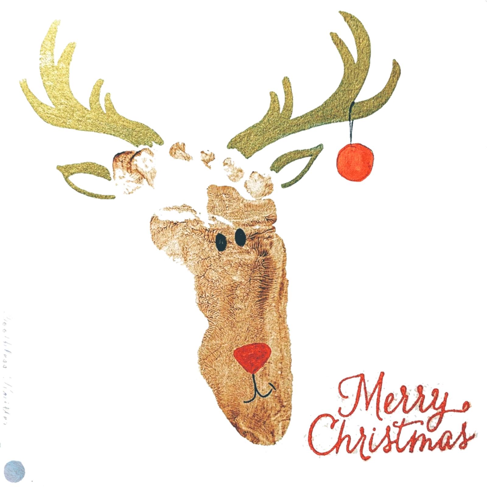 Reindeer Footprint Christmas Card / Kartka Bożonarodzeniowa z Odciskiem Stopy - Renifer