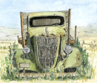pen watercolor sketch art abandoned ford truck