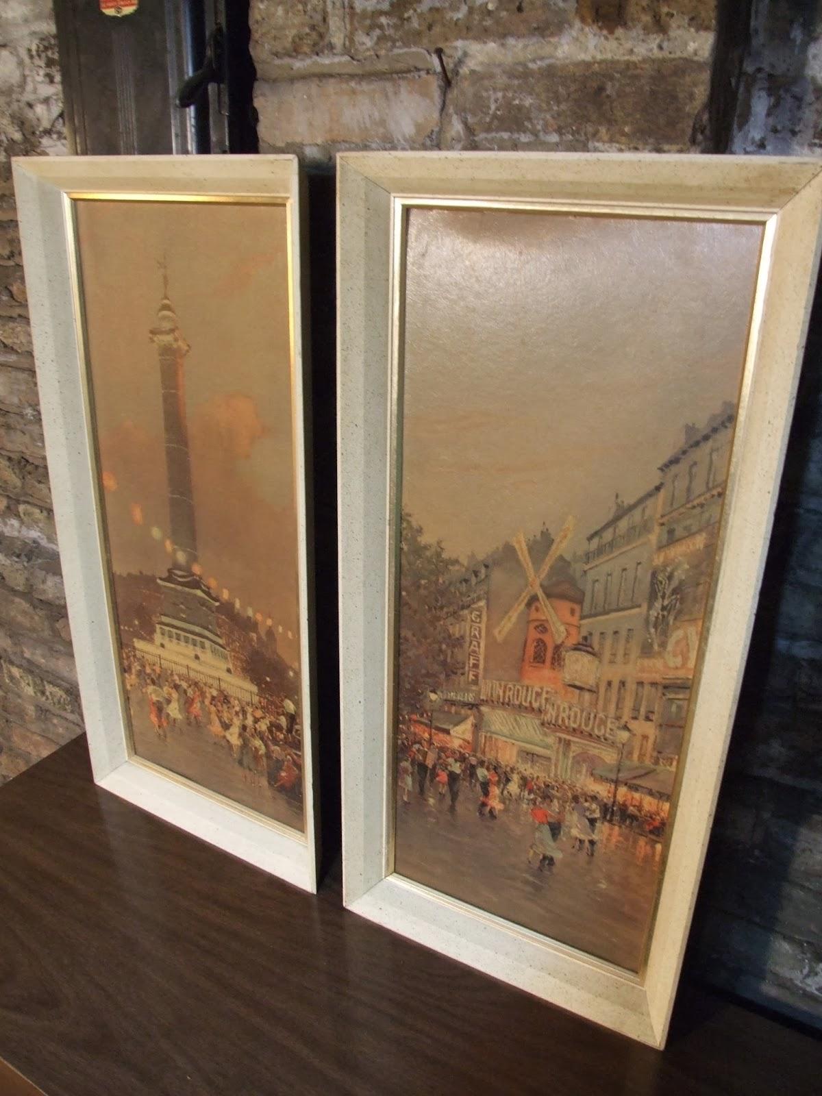Mid Century Chicago Pair Of 1950 S Parisian Textured Prints