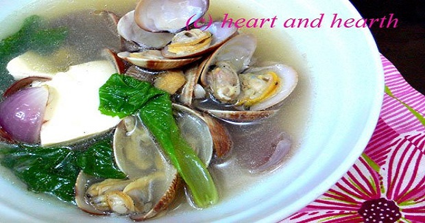 Fresh Clam Soup With Tofu And Mustard Greens Recipe
