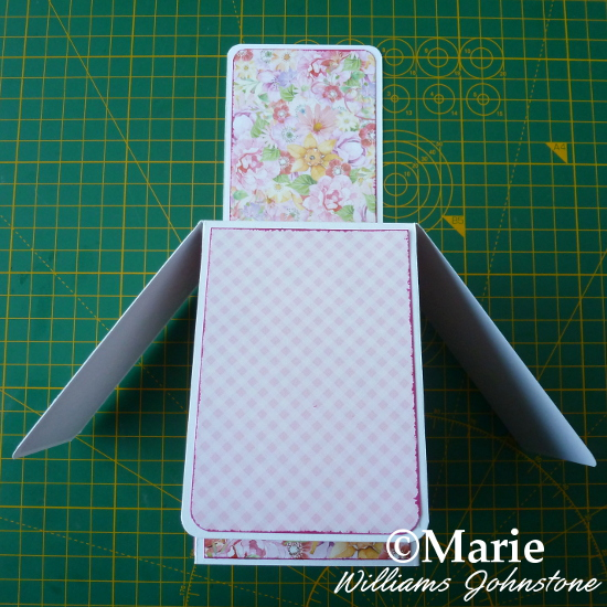 Covered DIY pop-up box card design with pink floral papers