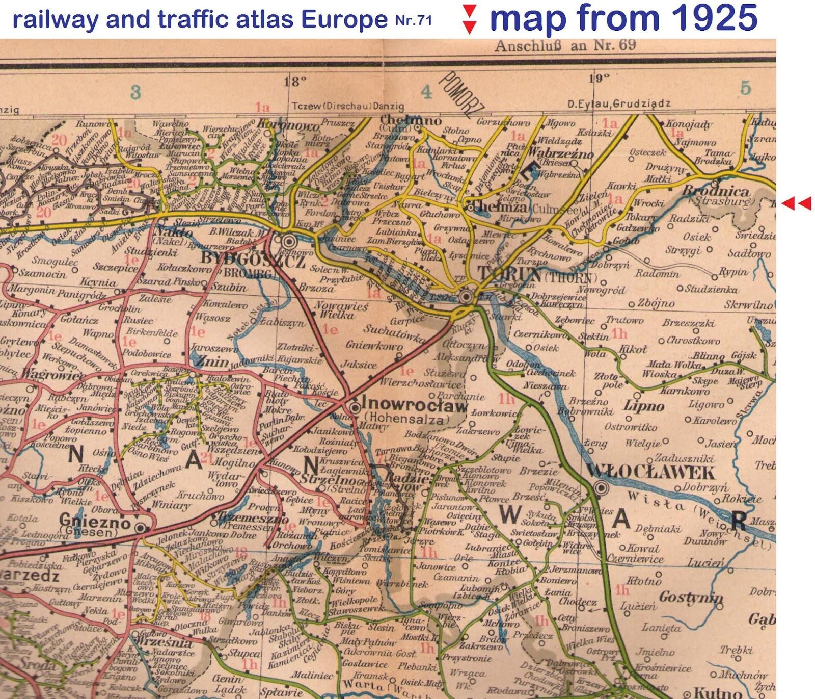 Culmsee 1925 Eisenbahn- u Verkehrsatlas – cut (pocket atlas)