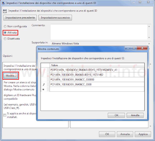 Windows Editor Criteri di gruppo locali indicare ID hardware dispositivi da impedire aggiornamento hardware