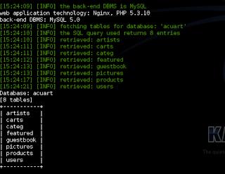 table Hacking Website menggunakan SQLMap Kali Linux