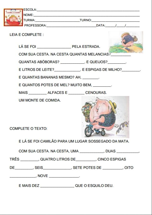 Well-known Espaço Carol Educar: Camilão, o comilão- Sequência de atividades  FB58