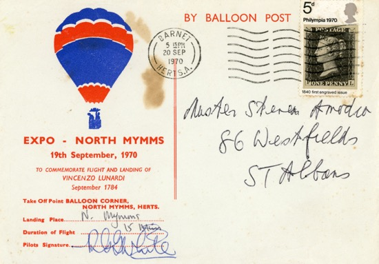 Postcard by Balloon Post 19 September 1970 Image courtesy of S. Amodio - part of the Images of North Mymms Collection