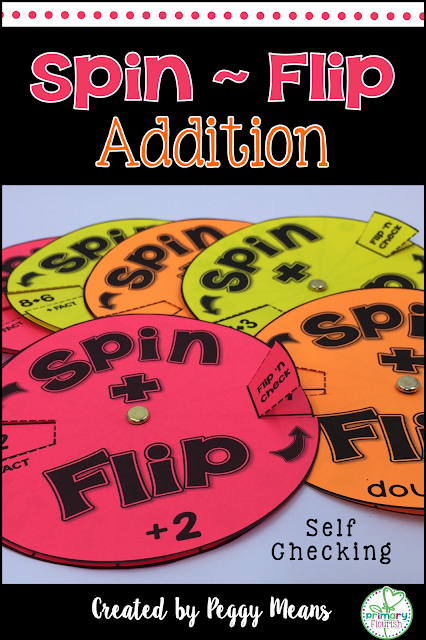 Increase math fact fluency in addition  with these fun Spin and Flip Spinners.  They are self-checking so they are great for independent practice and even homework.