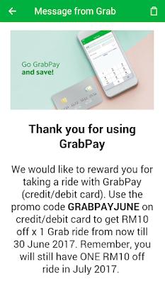 Grab Promo Code Malaysia GrabPay June 2017