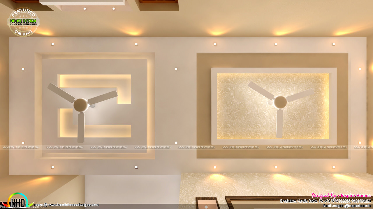 Contemporary three storied residential building kerala for Interior fall ceiling designs