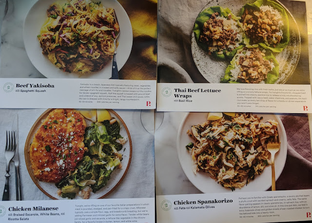 Plated Menu Cards - Beef Yakisoba, Thai Beef Lettuce Wraps, Chicken Milanese, Chicken Spanakorizo