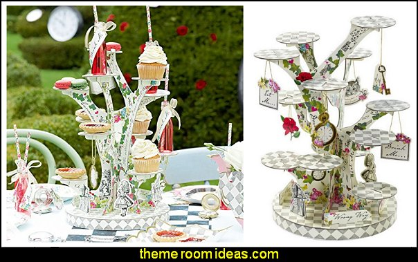 Talking Tables Truly Tea Party Alice Tree Treat Stand  Alice in Wonderland party decorating ideas - Alice in Wonderland theme party decorations - Alice in Wonderland costumes - Alice in Wonderlnd wall decals - Alice in Wonderland wall murals - tea party theme Alice in Wonderland Tea Party
