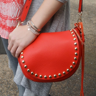 AwayFromBlue |  Rebecca Minkoff unlined saddle bag in cherry red