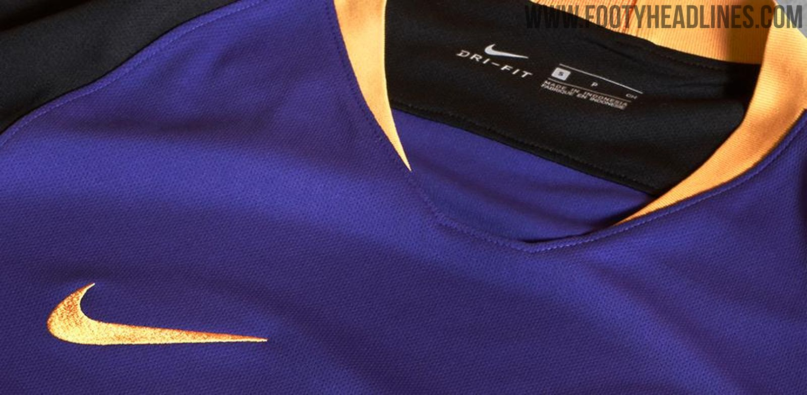 1487a6744 The Kaizer Chiefs 2018-2019 away jersey is purple with black sleeves and a  gold collar.