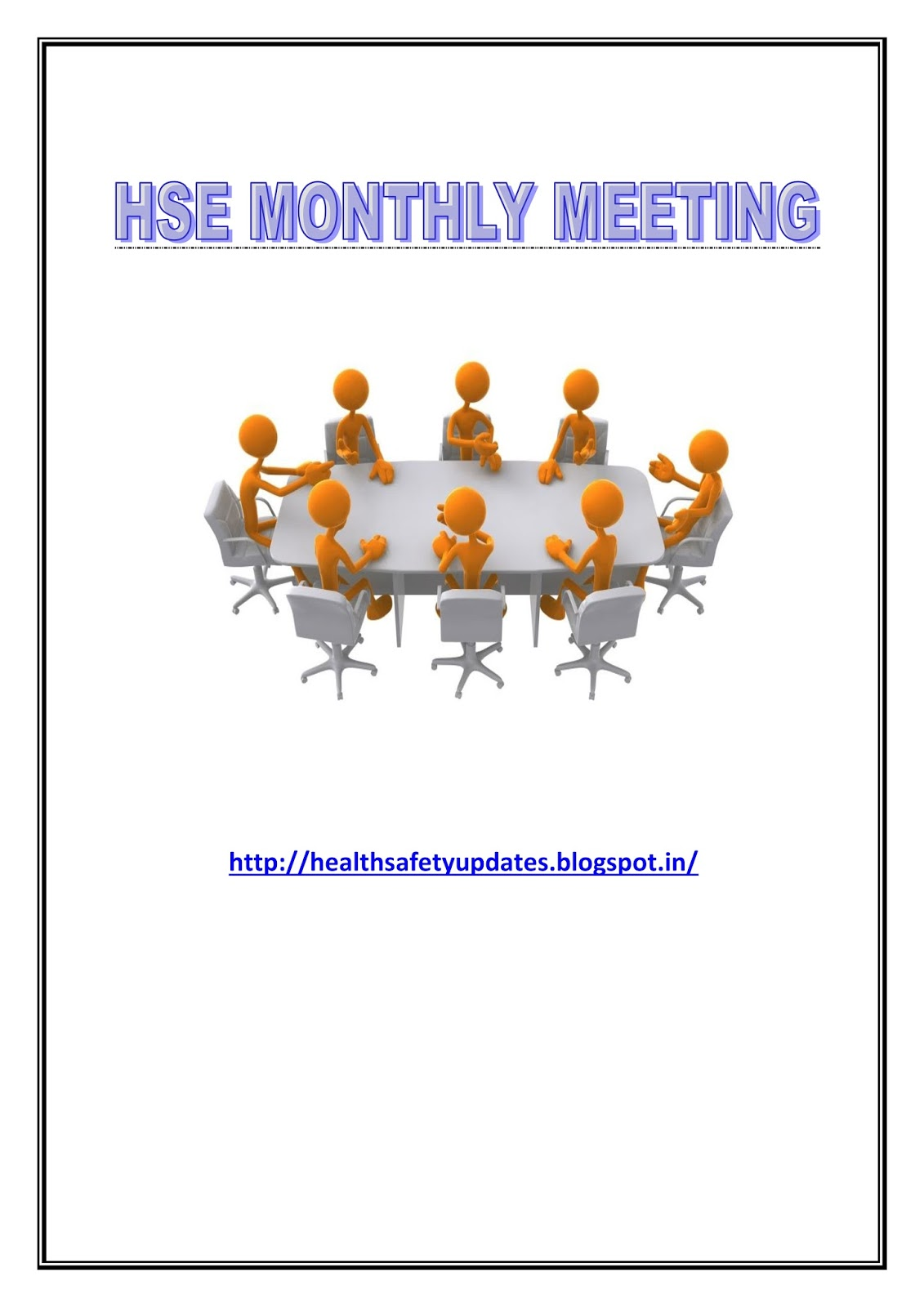 Hse monthly meeting sample format for Monthly health and safety report template