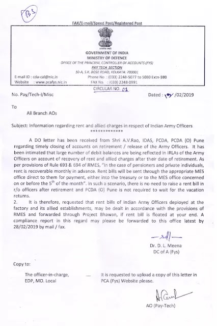 information-regarding-rent-and-allied-charges-i.r.o-indian-army-officers