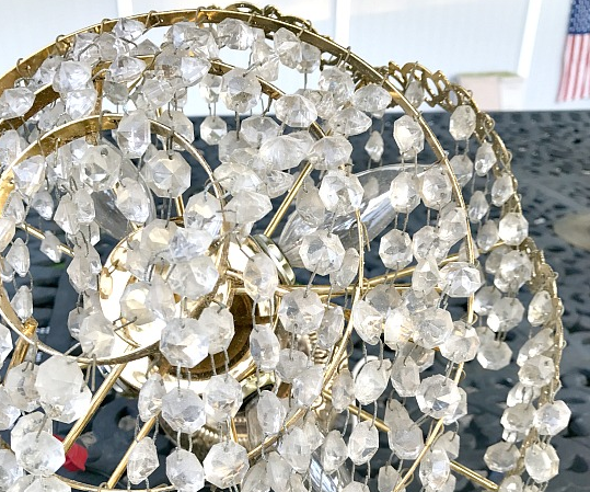repurposed lamp with glass chandelier bling