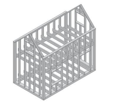 Комбинированная конструкция каркасного дома
