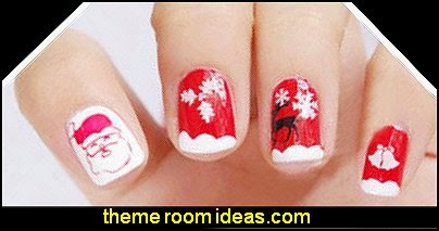 Christmas Santa Style Nail Art Stamp Stamping Template