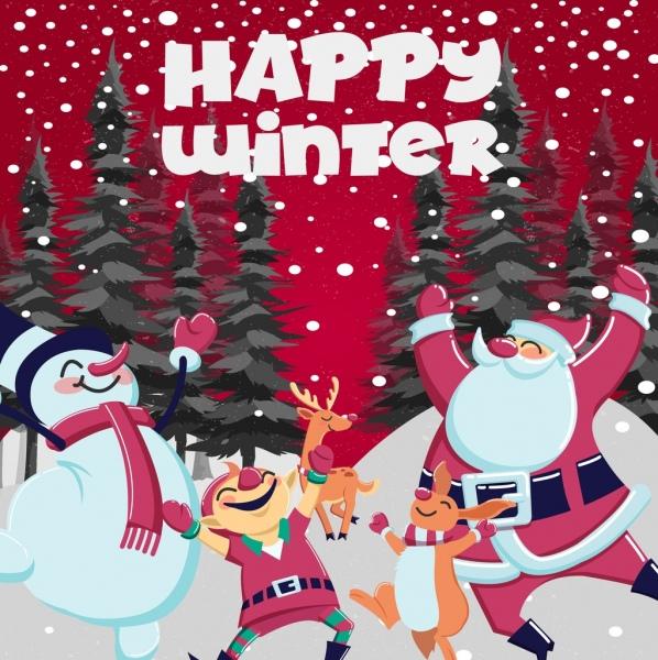 Christmas poster playful santa snowman reindeer rabbit icons Free vector file templates
