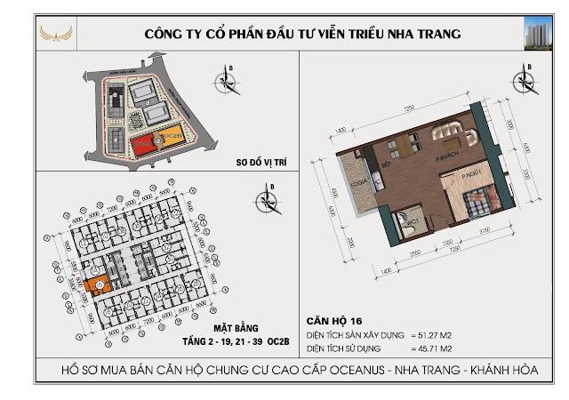 Sơ đồ căn hộ số 16 tòa OC2BViễn Triều Nha Trang