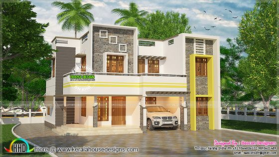 1821 sq-ft flat roof style contemporary home